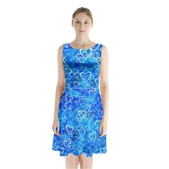 Valentine Heart Love Blue Sleeveless Waist Tie Chiffon Dress