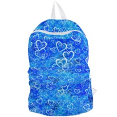 Valentine Heart Love Blue Foldable Lightweight Backpack by Mariart