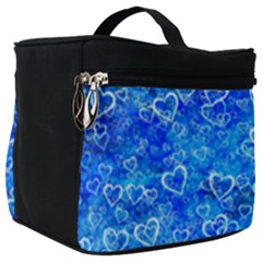 Valentine Heart Love Blue Make Up Travel Bag (big) by Mariart