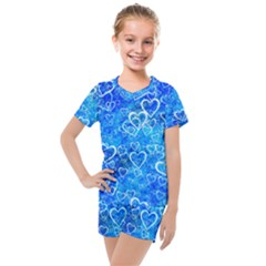 Valentine Heart Love Blue Kids  Mesh Tee And Shorts Set by Mariart