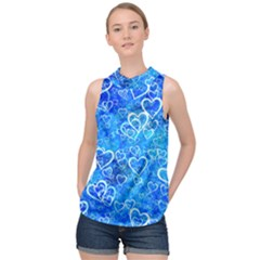 Valentine Heart Love Blue High Neck Satin Top by Mariart