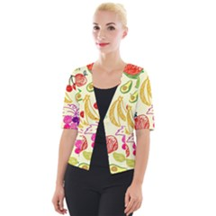 Seamless Pattern Fruit Cropped Button Cardigan by Mariart