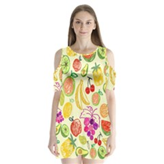 Seamless Pattern Fruit Shoulder Cutout Velvet One Piece by Mariart