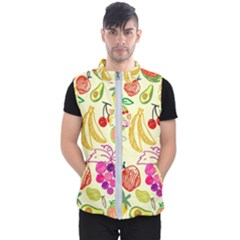 Seamless Pattern Fruit Men s Puffer Vest