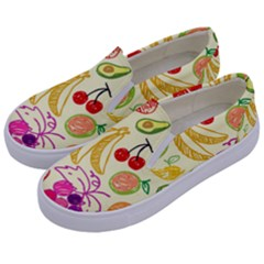 Seamless Pattern Fruit Kids  Canvas Slip Ons by Mariart