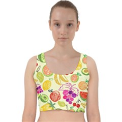 Seamless Pattern Fruit Velvet Racer Back Crop Top by Mariart