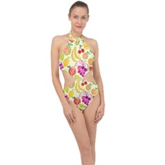 Seamless Pattern Fruit Halter Side Cut Swimsuit by Mariart