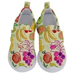 Seamless Pattern Fruit Kids  Velcro No Lace Shoes by Mariart
