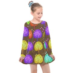 Textured Grunge Background Pattern Kids  Long Sleeve Dress by Mariart