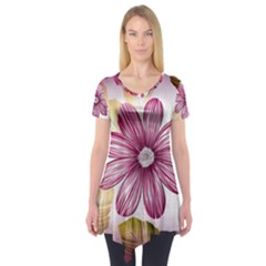 Star Flower Short Sleeve Tunic  by Mariart