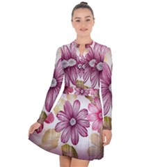 Star Flower Long Sleeve Panel Dress by Mariart