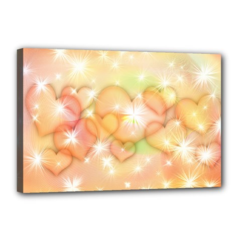 Valentine Heart Love Pink Canvas 18  X 12  (stretched)