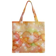 Valentine Heart Love Pink Zipper Grocery Tote Bag
