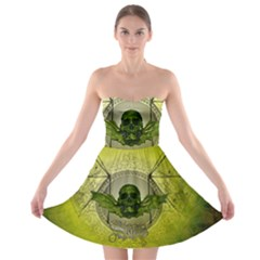 Awesome Creepy Skull With Wings Strapless Bra Top Dress by FantasyWorld7