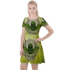 Awesome Creepy Skull With Wings Cap Sleeve Velour Dress  by FantasyWorld7