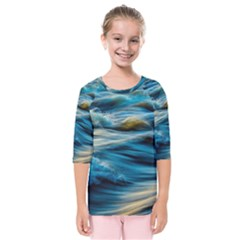 Ocean Waves Kids  Quarter Sleeve Raglan Tee by WensdaiAddamns