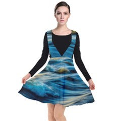 Ocean Waves Plunge Pinafore Dress by WensdaiAddamns