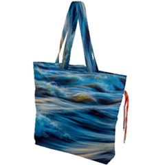 Ocean Waves Drawstring Tote Bag by WensdaiAddamns