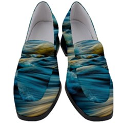 Ocean Waves Women s Chunky Heel Loafers by WensdaiAddamns