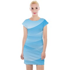 Waves Background Cap Sleeve Bodycon Dress