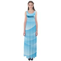 Waves Background Empire Waist Maxi Dress