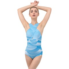 Waves Background Cross Front Low Back Swimsuit