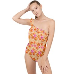 Star Leaf Autumnal Leaves Frilly One Shoulder Swimsuit by Jojostore