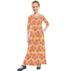 Star Leaf Autumnal Leaves Kids  Quarter Sleeve Maxi Dress by Jojostore