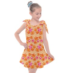 Star Leaf Autumnal Leaves Kids  Tie Up Tunic Dress
