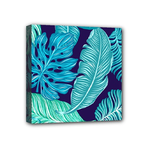 Tropical Greens Leaves Banana Mini Canvas 4  X 4  (stretched)