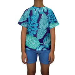 Tropical Greens Leaves Banana Kids  Short Sleeve Swimwear