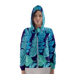 Tropical Greens Leaves Banana Hooded Windbreaker (women)