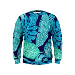 Tropical Greens Leaves Banana Kids  Sweatshirt by Mariart