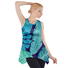 Tropical Greens Leaves Banana Side Drop Tank Tunic by Mariart