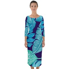 Tropical Greens Leaves Banana Quarter Sleeve Midi Bodycon Dress by Mariart