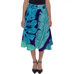 Tropical Greens Leaves Banana Perfect Length Midi Skirt
