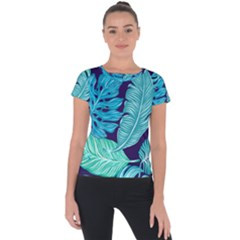 Tropical Greens Leaves Banana Short Sleeve Sports Top  by Mariart