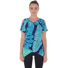Tropical Greens Leaves Banana Cut Out Side Drop Tee