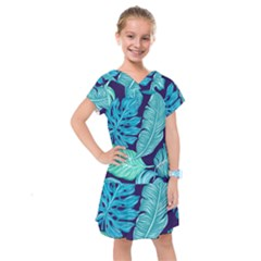 Tropical Greens Leaves Banana Kids  Drop Waist Dress