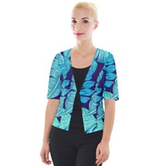 Tropical Greens Leaves Banana Cropped Button Cardigan by Mariart
