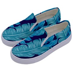 Tropical Greens Leaves Banana Kids  Canvas Slip Ons by Mariart