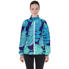 Tropical Greens Leaves Banana High Neck Windbreaker (women)
