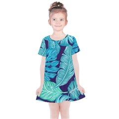 Tropical Greens Leaves Banana Kids  Simple Cotton Dress