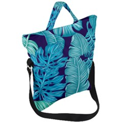 Tropical Greens Leaves Banana Fold Over Handle Tote Bag by Mariart