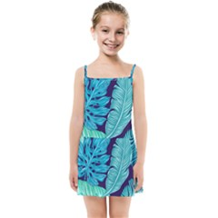 Tropical Greens Leaves Banana Kids  Summer Sun Dress by Mariart