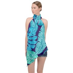Tropical Greens Leaves Banana Halter Asymmetric Satin Top by Mariart