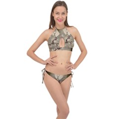 Funny Giraffe With Herats And Butterflies Cross Front Halter Bikini Set by FantasyWorld7
