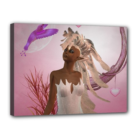 Wonderful Fairy With Feather Hair Canvas 16  X 12  (stretched) by FantasyWorld7