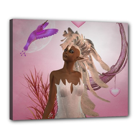 Wonderful Fairy With Feather Hair Canvas 20  X 16  (stretched)