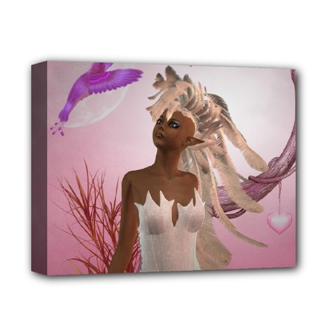 Wonderful Fairy With Feather Hair Deluxe Canvas 14  X 11  (stretched)